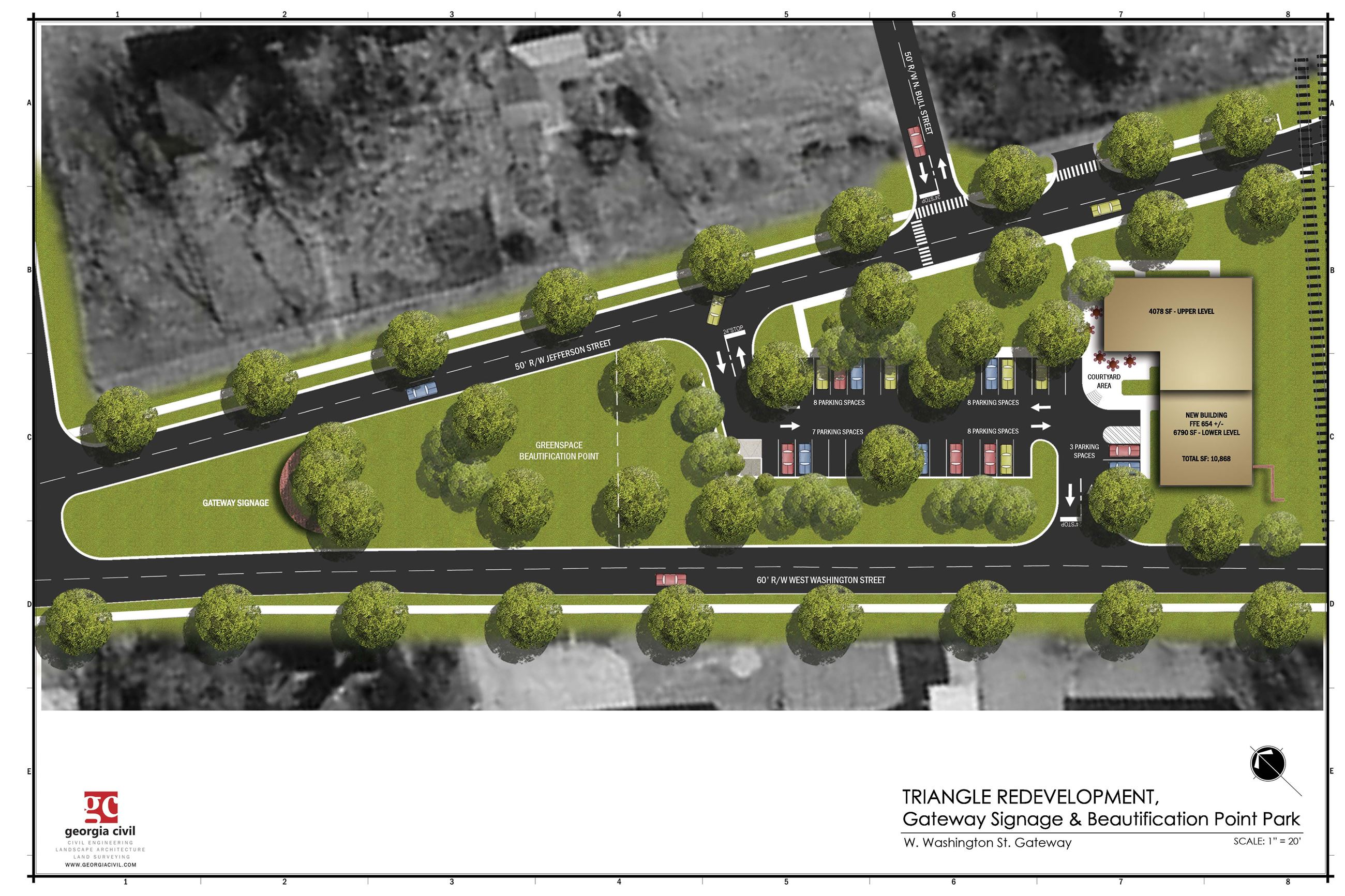 Site Plan for the Triangle Intersection of Jefferson and Washington